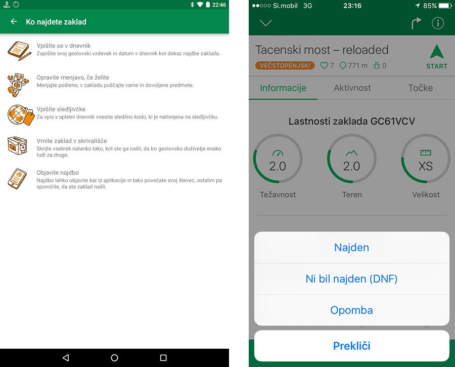Geocaching Intro aplikacija za Android in iOS naprave.
